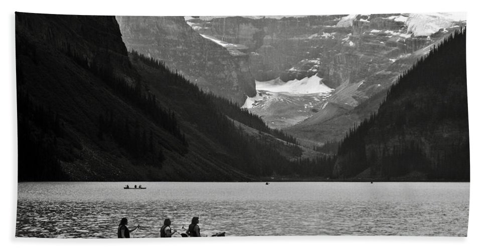Lake Louise Hand Towel featuring the photograph Kayak On Lake Louise by RicardMN Photography
