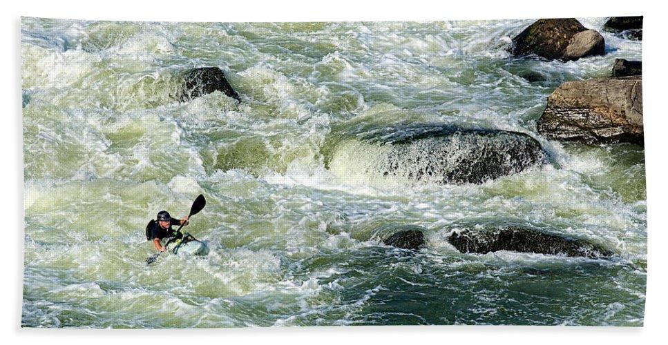 Kayak Bath Sheet featuring the photograph Kayaker by David Kay