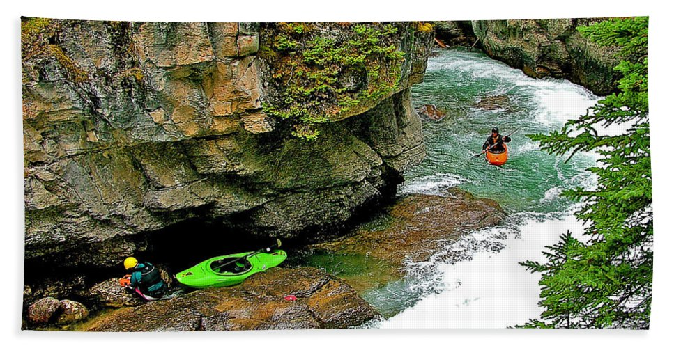 Kayakers In Maligne Canyon In Jasper Np Bath Sheet featuring the photograph Kayakers In Maligne Canyon In Jasper Np-alberta by Ruth Hager