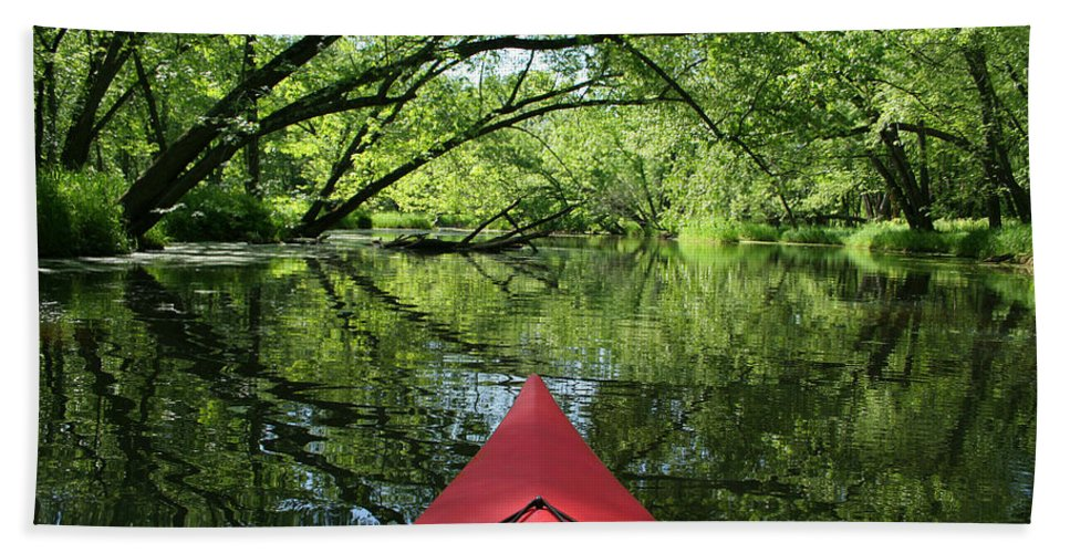 Activity Bath Sheet featuring the photograph Kayaking Backwater Mississippi 1 by John Brueske