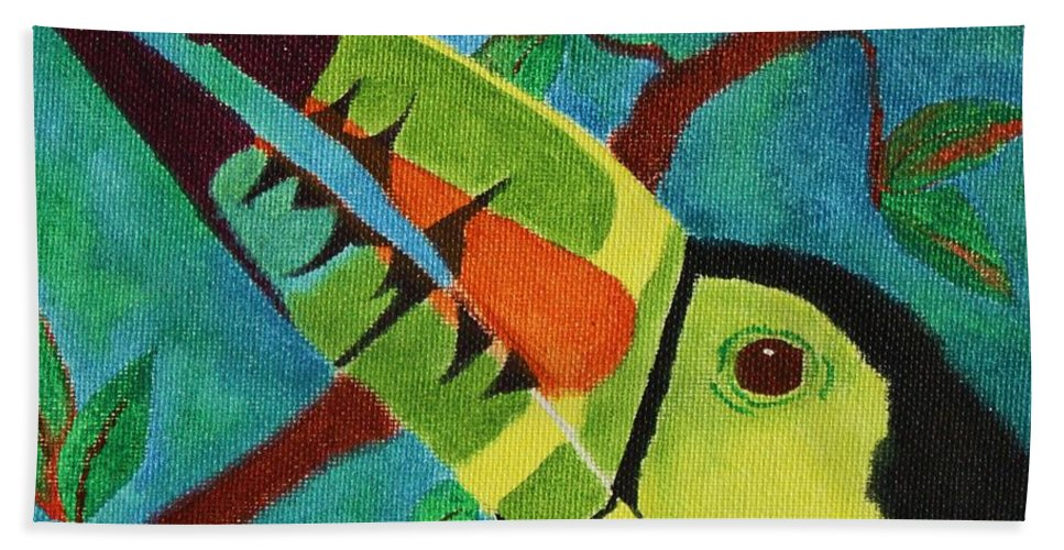 Keel-billed Toucan Bath Sheet featuring the painting Keel-billed Toucan by Amy Gallagher