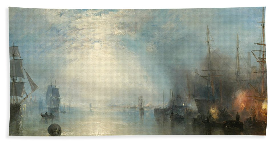 Shipping; Industry; Coal; Fire; Night; Moon; Sailing; Sail; Boat; Burning; Coal; Kealboat; Keels; Cargo Bath Towel featuring the painting Keelmen Heaving In Coals By Moonlight by Joseph Mallord William Turner