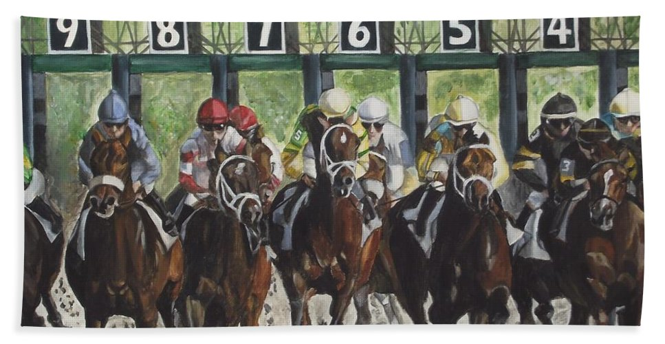 Acrylic Bath Towel featuring the painting Keeneland by Kim Selig