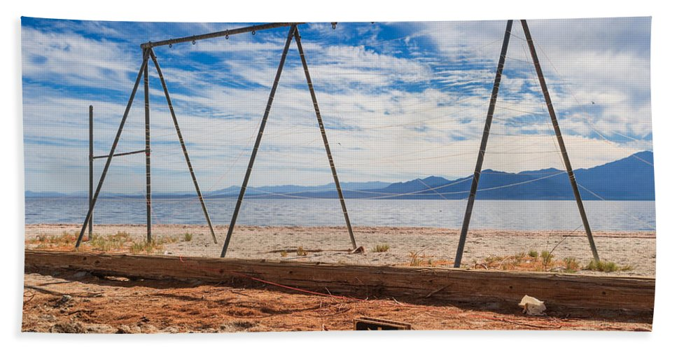Salton Sea Hand Towel featuring the photograph Keep Out No Playing Here Swing Set Playground by Scott Campbell