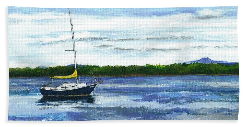 Lake Bath Sheet featuring the painting Kellogg's Bay Vt View Of Lake Champlain And Camel's Hump by Judith Rice