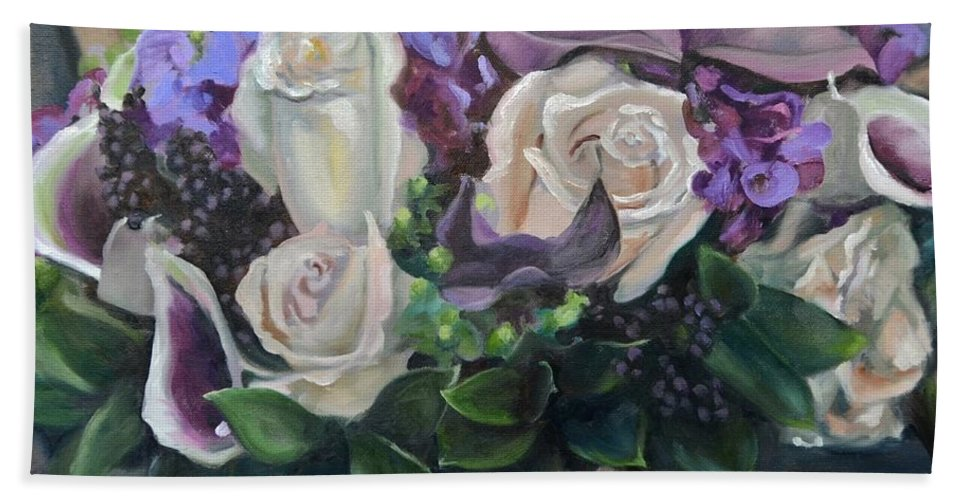 Ribbon Bath Sheet featuring the painting Kelly's Bridal Bouquet by Donna Tuten