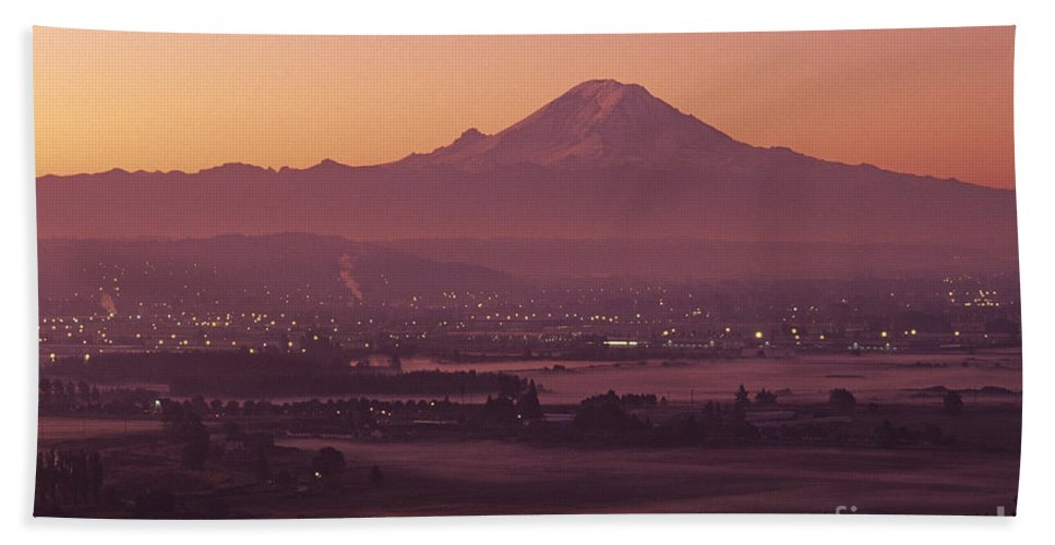 Nature Hand Towel featuring the photograph Kent Valley With Mount Rainier by Jim Corwin