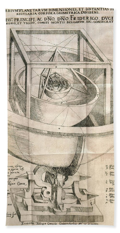 1596 Hand Towel featuring the photograph Keplers Universe, 1596 by Granger