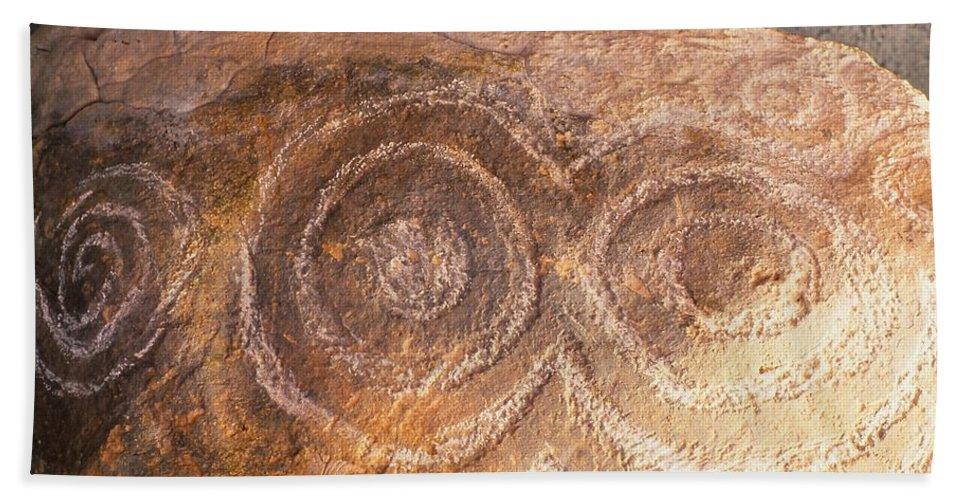 Bru Na Boinne Spiral Detail Hand Towel featuring the photograph Kerbstone Spiral by Cynthia Wallentine