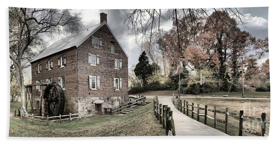 Grist Mill Bath Sheet featuring the photograph Kerr Grist Mill Stormy Skies Panorama by Adam Jewell