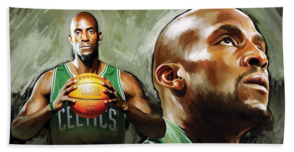 Kevin Garnett Hand Towel featuring the painting Kevin Garnett Artwork 1 by Sheraz A