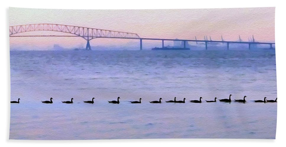 2d Hand Towel featuring the photograph Key Bridge And Waterfowl by Brian Wallace