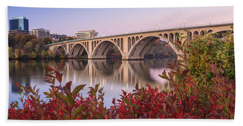 Washington Dc Hand Towel featuring the photograph Graceful Feeling - Washington Dc Key Bridge by Carol VanDyke