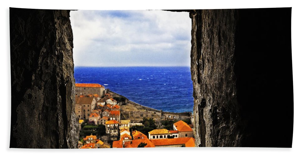 City Bath Sheet featuring the photograph Key Hole View Of Dubrovnik by Madeline Ellis