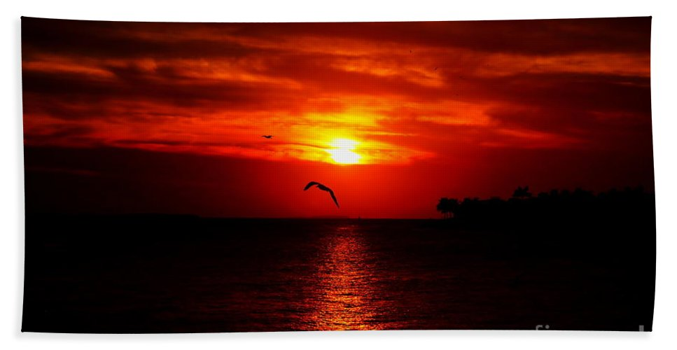 Sunset Bath Sheet featuring the photograph Key West Sunset by David Rucker