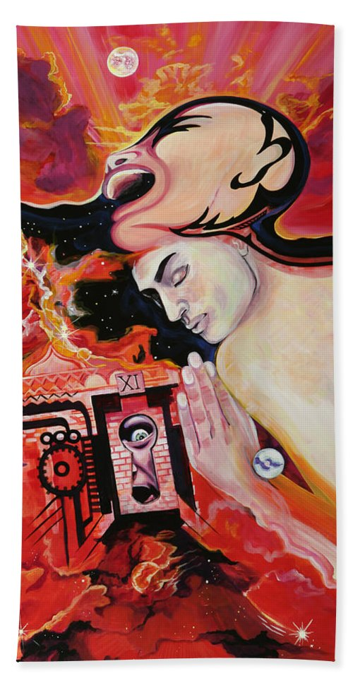 Passion Hand Towel featuring the painting Keyhole by Yelena Tylkina