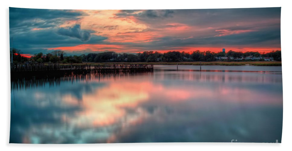 Hdr Bath Sheet featuring the photograph Keyport Nj Sunset Reflections by Michael Ver Sprill
