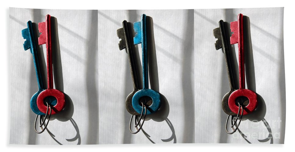 Old Keys Hand Towel featuring the digital art Keys Please by Margie Chapman