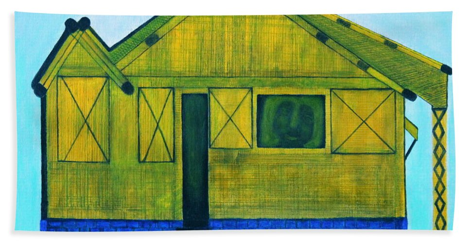 Designers Print Hand Towel featuring the painting Kiddie House by Lorna Maza