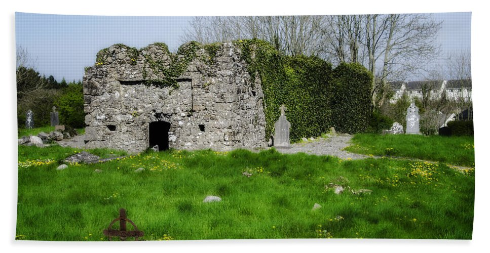 Kilmore Hand Towel featuring the photograph Kilmore Church Ruins - Founded By St Patrick - Ballina Co Mayo by Bill Cannon