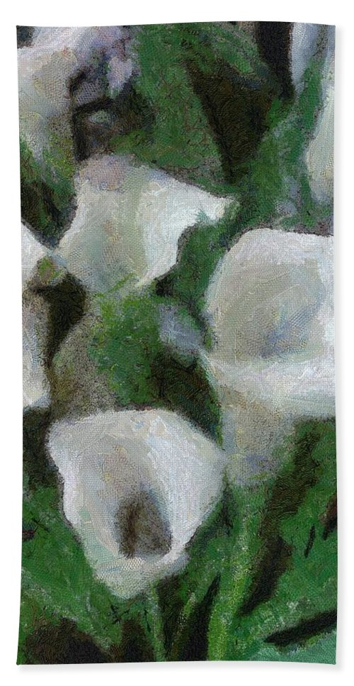 Bloom Hand Towel featuring the painting Kim's Flowers by Jeffrey Kolker