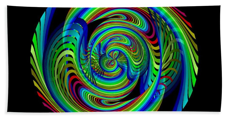 Abstract Bath Sheet featuring the digital art Kinetic Rainbow 26 by Tim Allen