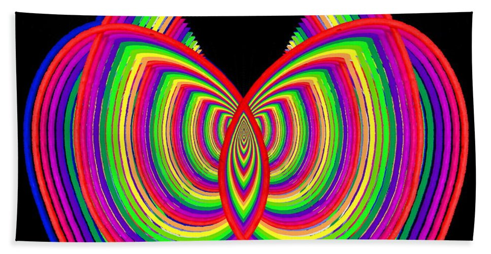 Abstract Bath Sheet featuring the digital art Kinetic Rainbow 27 by Tim Allen