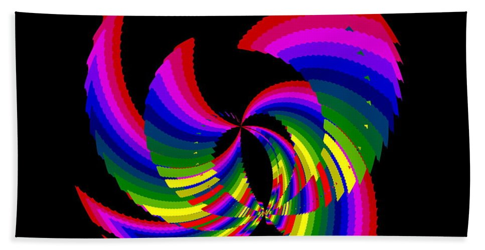 Abstract Hand Towel featuring the digital art Kinetic Rainbow 51 by Tim Allen