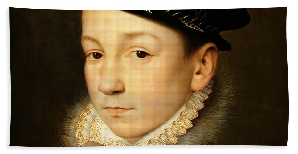 Francois Clouet Bath Sheet featuring the painting King Charles Ix Of France by Francois Clouet