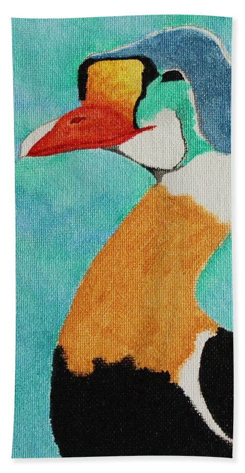 King Eider Bath Sheet featuring the painting King Eider by Amy Gallagher