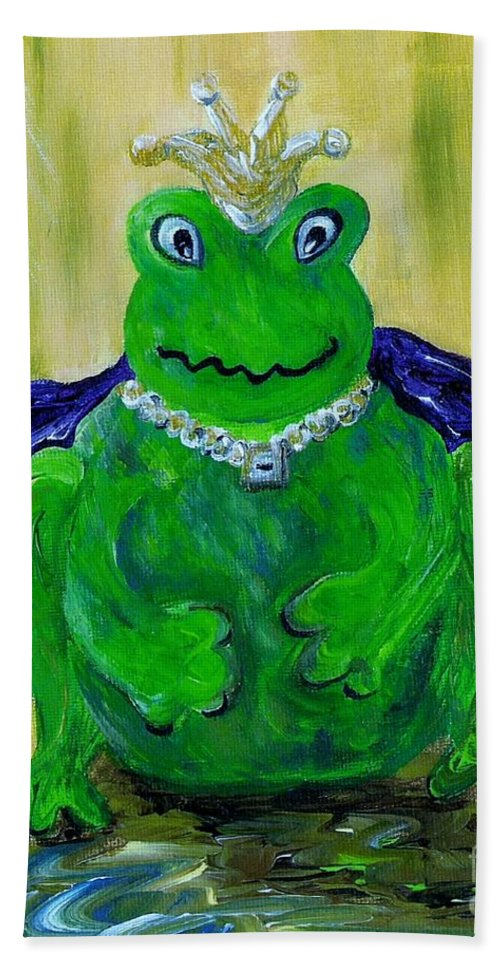 Frog Hand Towel featuring the painting King For A Day by Eloise Schneider Mote