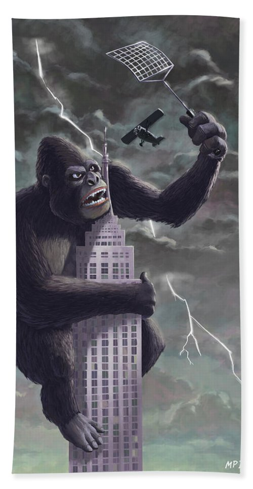 Kong Bath Sheet featuring the painting King Kong Plane Swatter by Martin Davey