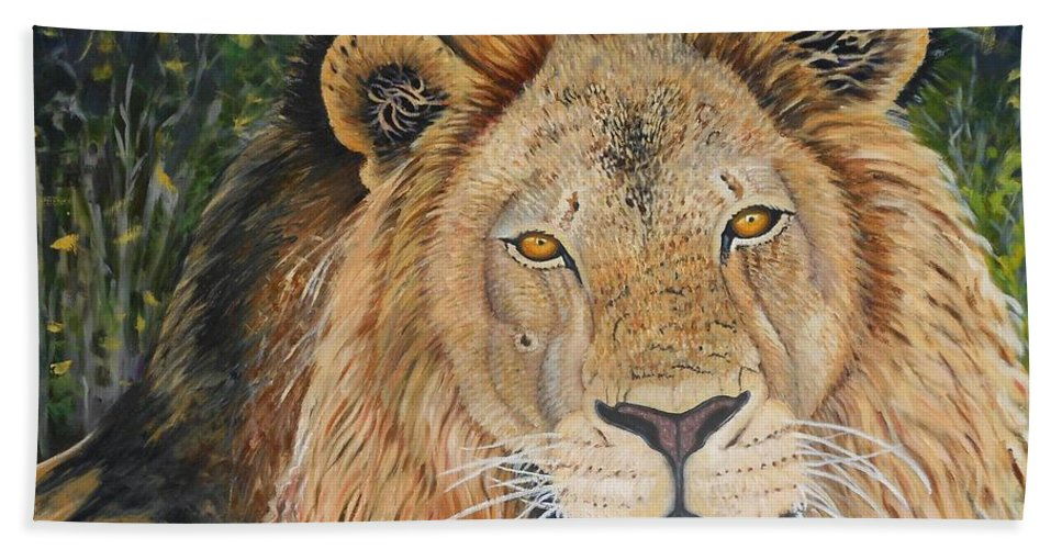 Wildlife Bath Towel featuring the painting King Of The African Savannah by Caroline Street