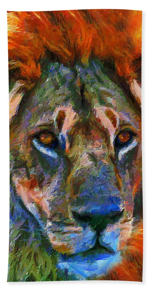 Lion Hand Towel featuring the mixed media King Of The Wilderness by Georgiana Romanovna