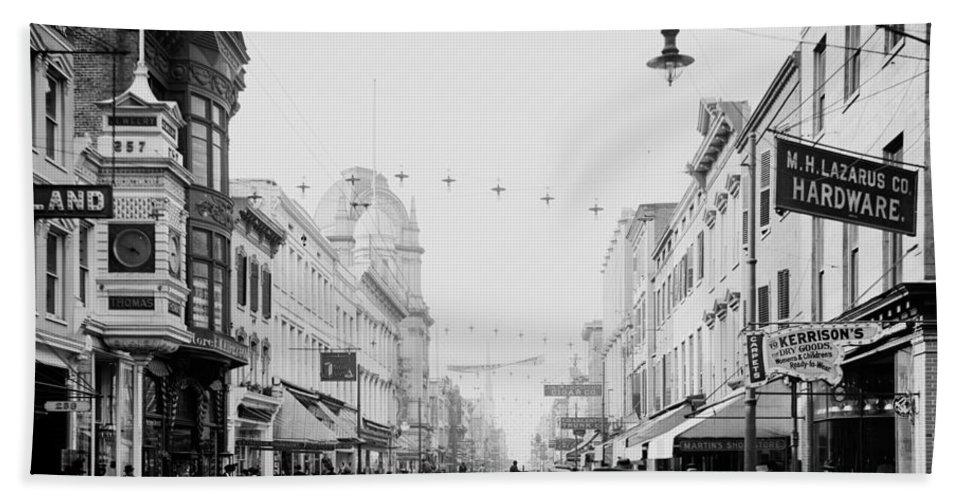 1910 Bath Towel featuring the photograph King Street In Charleston South Carolina Circa 1910 by Mountain Dreams