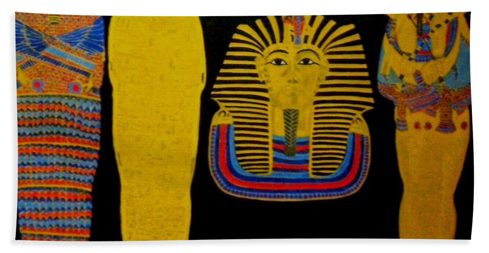Egypt Bath Sheet featuring the painting King Tut by Leslye Miller