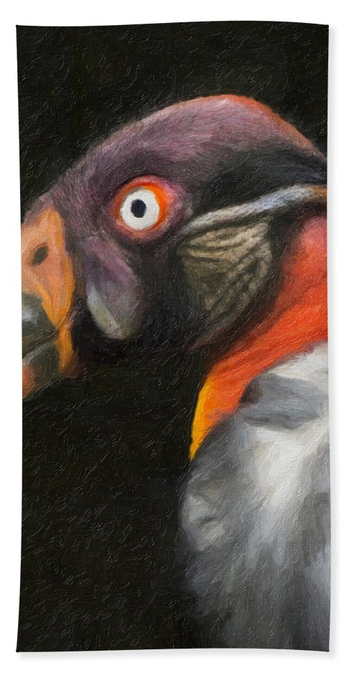 Vulure Hand Towel featuring the photograph King Vulture - Impasto by James Ekstrom