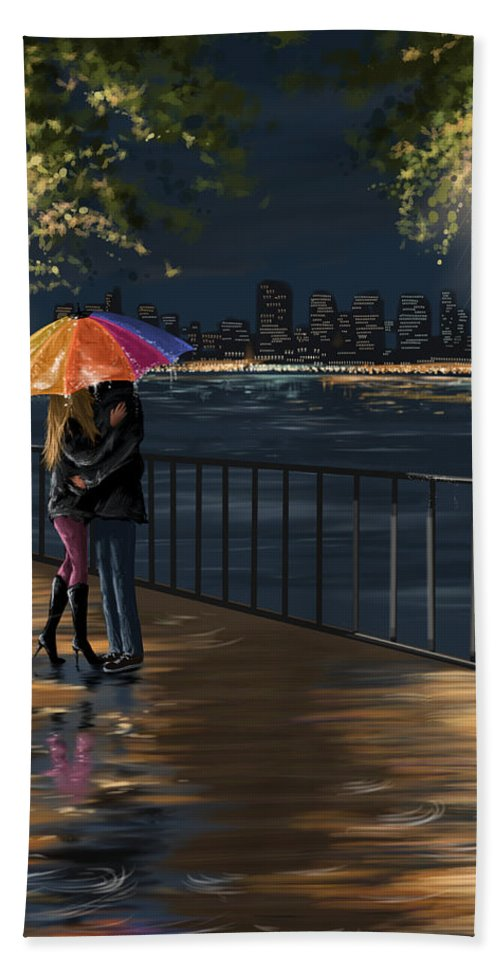 Water Bath Sheet featuring the painting Kiss by Veronica Minozzi