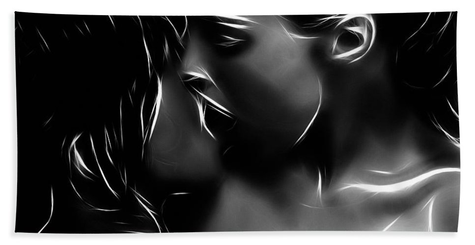 Girl Woman Female Kiss Kissing Lesbian Sexy Beauty Nude Naked Erotic Black White Expressionism Abstract Sensual Hand Towel featuring the painting Kissing A Girl by Steve K