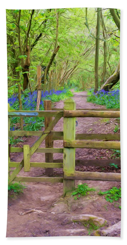 Bluebell Bath Sheet featuring the mixed media Kissing Gate Painting. by Roy Pedersen