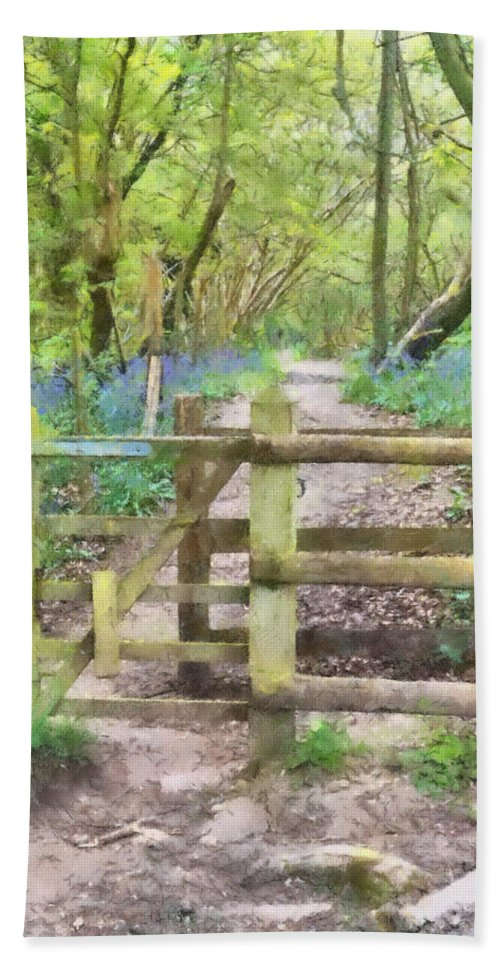 Bluebell Bath Sheet featuring the mixed media Kissing Gate Watercolour by Roy Pedersen