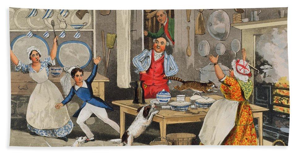 Alken Hand Towel featuring the painting Kitchen Scene by Henry Thomas Alken