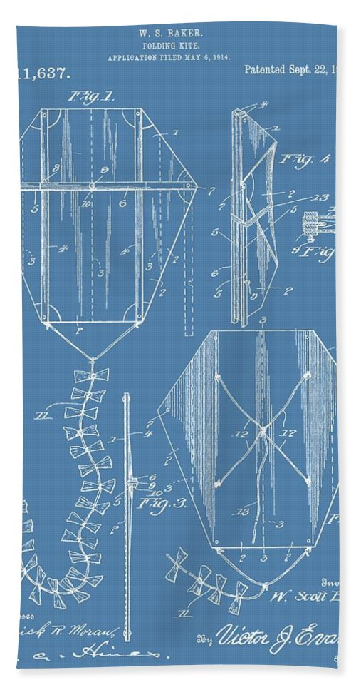 Vintage Kite Patent Bath Sheet featuring the digital art Kite Patent On Blue by Dan Sproul