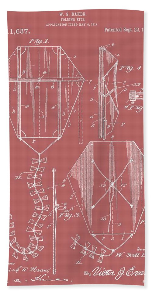 Vintage Kite Patent Bath Sheet featuring the digital art Kite Patent On Red by Dan Sproul