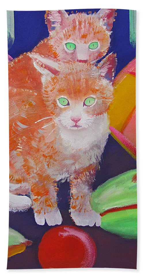 Kittens Hand Towel featuring the painting kittens With A Ball of Wool by Charles Stuart