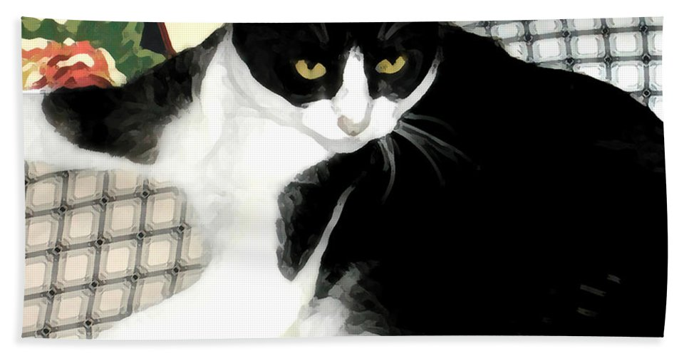 Black And White Hand Towel featuring the photograph Kitty On His Perch by Jeanne A Martin
