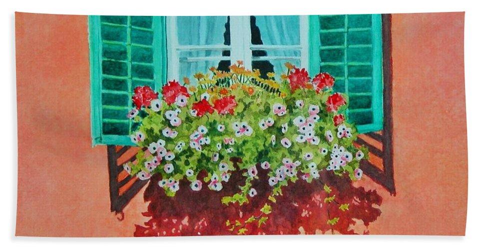 Window Box Hand Towel featuring the painting Kitzbuhel Window by Mary Ellen Mueller Legault