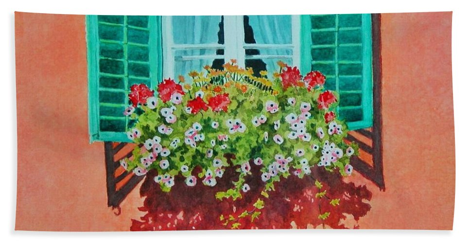 Window Box Bath Towel featuring the painting Kitzbuhel Window by Mary Ellen Mueller Legault