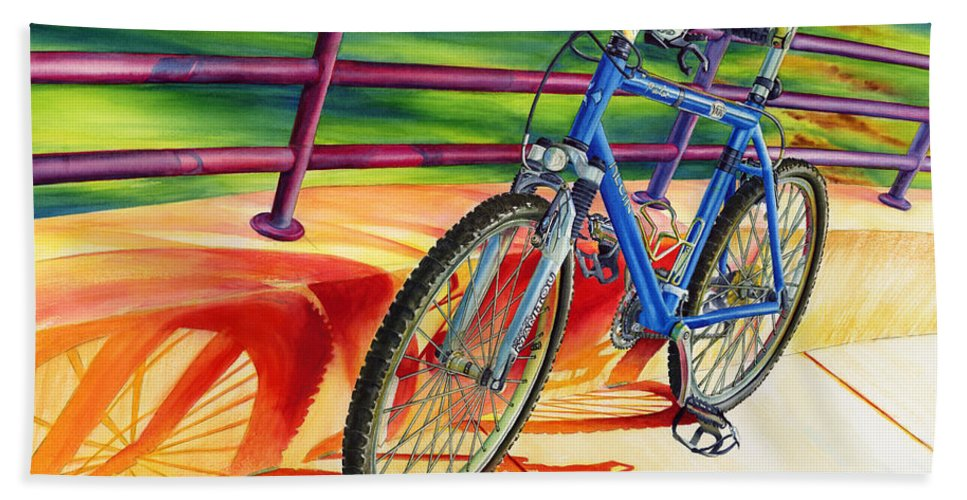 Bicycle Hand Towel featuring the painting Klein Pulse Comp by Hailey E Herrera