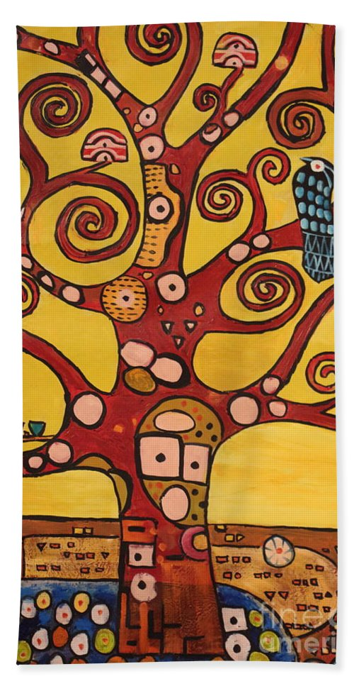 Klimt Hand Towel featuring the painting Klimt Study Tree Of Life by Stefan Duncan